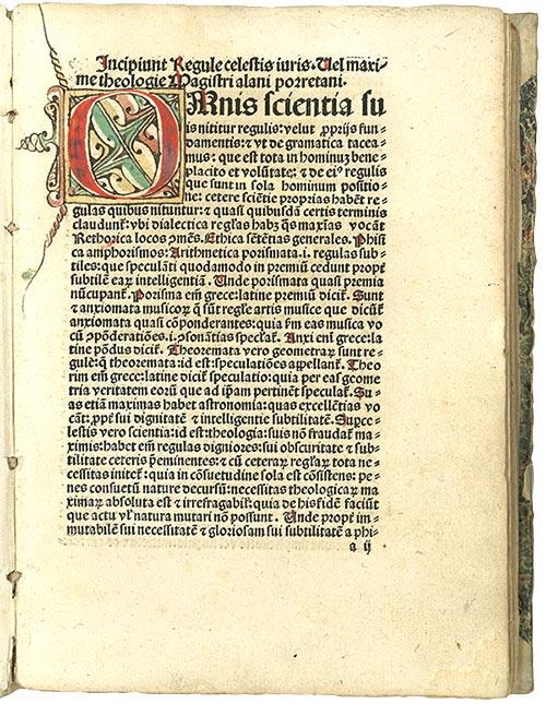 Alanus de Insulis, De maximis theologiae. [Basel, Jakob Wollf, before 1492]