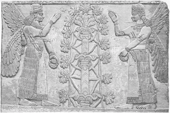 Two Female winged figures before the Sacred Tree.