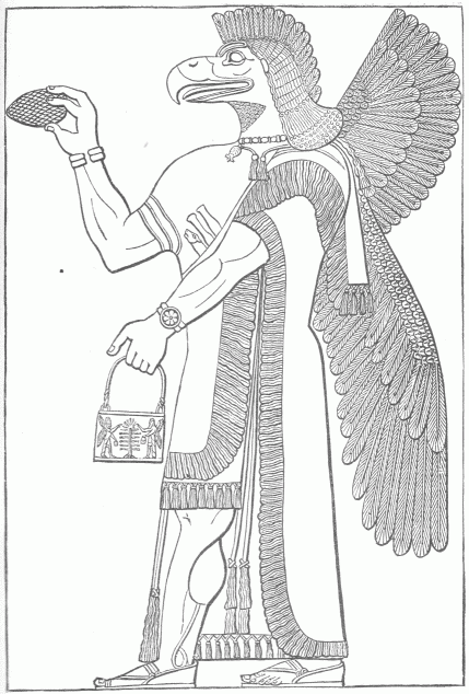 Eagle-headed winged figure facing the Sacred Tree, holding a ritual pail showing a reduplication of the scene.
