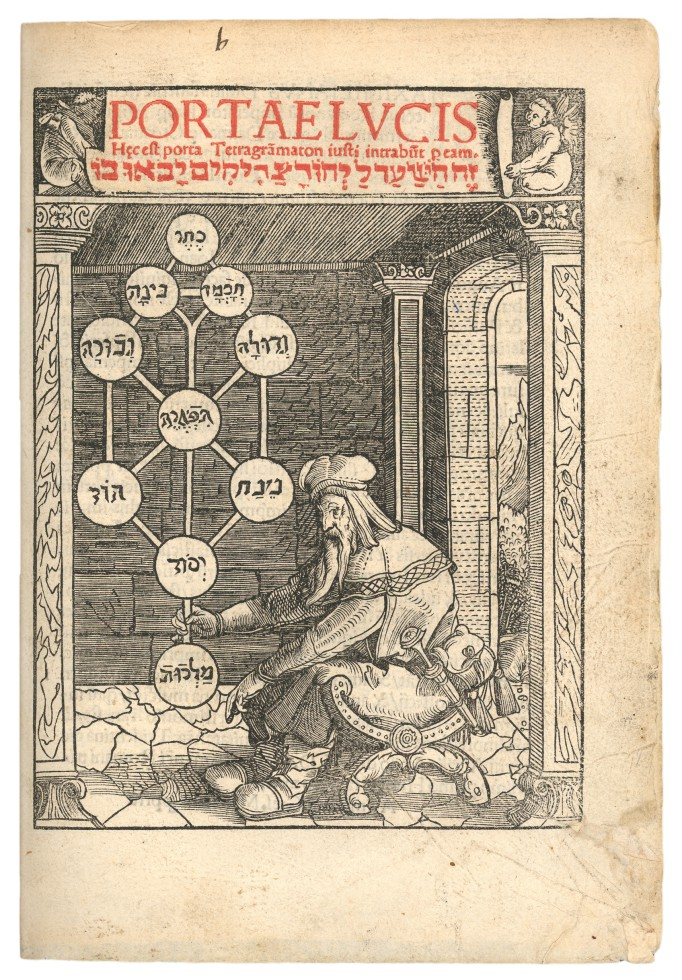 The first printed image of the sefirot, the ten emanations in the Kabbalah through which God (ein sof) reveals himself. From: Joseph ben Abraham Gikatilla, Portae lucis. Augsburg 1516