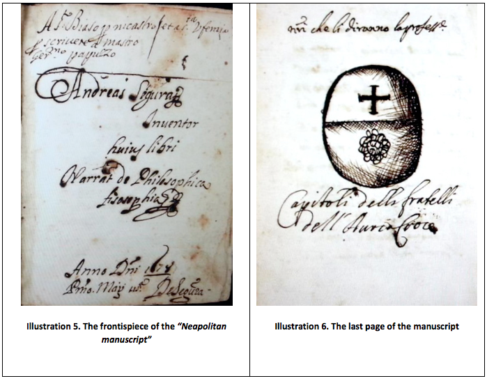 "Illustration 5. The frontispiece of the ""Neapolitan manuscript"" and Illustration 6. The last page of the manuscript"